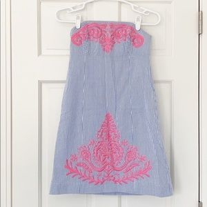 LILLY PULITZER dress size 0 blue white strapless